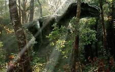 Lámina-T-rex Dinosaurio trekking a través del bosque (imagen de arte cartel)