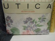 TWIN FLAT SHEET Green Mansions by UTICA - Vintage 1987 - Cottage Chic - UNUSED