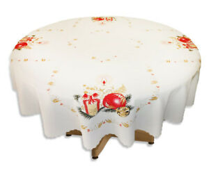"""Christmas round WHITE Tablecloth 140x140cm present (55""""x55"""") perfect gift"""