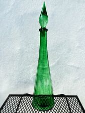 VTG ITALIAN MURANO EMPOLI GENIE BOTTLE DECANTER FLAME STOPPER GREEN