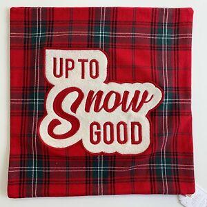 "Pottery Barn Teen Up To Snow Good Pillow Cover 18"" Christmas Decor Tartan Plaid"