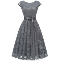 Women Vintage Scoop Neck Cap Sleeve Lace A-Line Holiday Party Dress Bowknot Gown