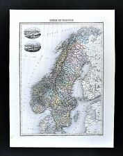 1880 Migeon Map - Sweden Norway Scandinavia Stockholm Christiania Vignettes Oslo
