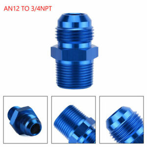 1PC AN12 TO 3/4NPT ORB-12 Straight Fuel Oil Air Hose Fitting Male Adapter Blue A