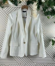 ANN TAYLOR The One Button Blazer White Beige Size 14 BRAND NEW $169
