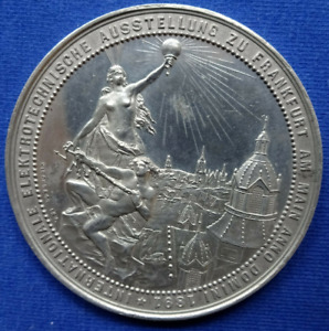Frankfurt 1891 Medal Unc City View Electricity In The City Germany German State