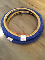 Pair of Raleigh Burner Old School BMX Tyres Comp 3 Tread Blue  20 x 2.125