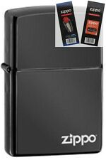 Zippo 24756zl ebony black logo Lighter with *FLINT & WICK GIFT SET*