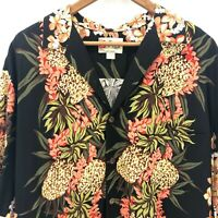 Vintage Hilo Hattie Hawaiian Original ShirtSize Large Black Pink Lei Pineapple