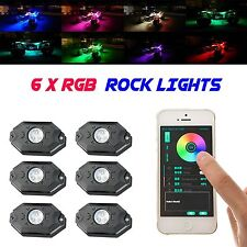 6 LED Rock Lights Aluminum Wireless w/Bluetooth Music RGB Color Accent Under Car