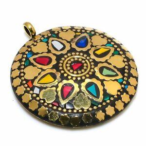 "Mosaic Jasper Gemstone Handmade 925 Sterling Silver Jewelry Pendant 2.17"" H127"
