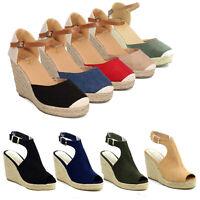 Women Platform Wedge Espadrille Sandals Denim Cap Closed / Peep Toe Ankle Strap