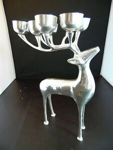 """Pottery Barn Chrome Lacquered 13"""" Reindeer Candelabra Holds 8 Votive Candles"""