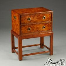 L21232: English Design Burl Walnut Campaign Style Silver Chest on Stand  ~ New