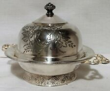 VINTAGE COLUMBIAN QUADRUPLE SILVER PLATE COVERED BUTTER DISH ROUND