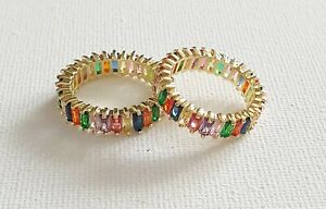 18k Gold Plated Rainbow CZ Crystal Ring L N P Other Bloggers Stories
