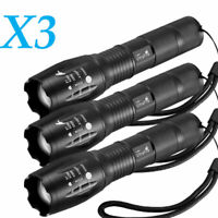 3x Tactical Flashlight 18650 Ultrafire T6 High Powerful 5Modes Zoomable Aluminum