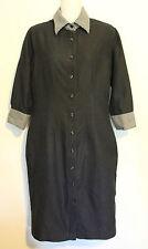 RHODES & BECKETT ~ Charcoal Cotton Shirt Dress w Gingham Cuffs Collar ~ 6