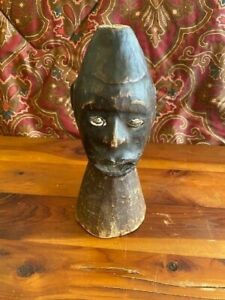 "Vintage Small Ekoi African Headdress Sculpture 8.5""x4"" Leather Wood Well Worn"