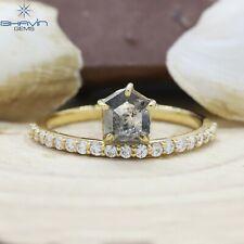 14K & 18K, Shield Diamond, Natural Diamond Ring, Salt And Pepper Diamond, BJR-97