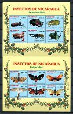 NICARAGUA 2003 Schmetterlinge Käfer Papillon Farfalla Block 322-323 **