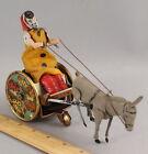 Antique LEHMANN German Tin Litho Wind up Balky Mule Stubborn Donkey Clown Toy