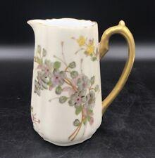 Atq Porcelain Imperial Austria Sm Pitcher Blue Purple Hand Painted Flowers