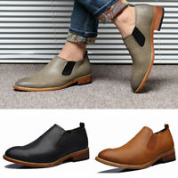 Fashion Men Oxfords Leather Shoes Point Toe Wedding Formal Office Business Shoes