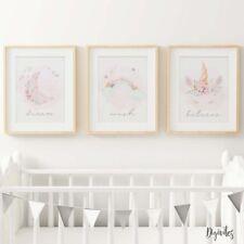 Unicorn Wall Art Set of 3 prints Dream Wish believe Girl Nursery Bedroom decor