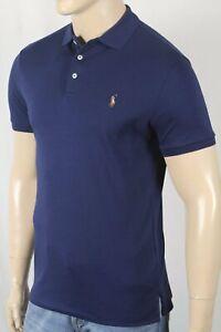 Polo Ralph Lauren Navy Blue Custom Slim Fit Short Sleeve Shirt Multi Color Pony