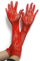 Choice of 3 Colours Red, Black or White Sexy Ladies Lace Gloves 35cm Long