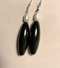Whitby Jet & Cult Pearl Earrings Handmade With 925 Silver Ear Wires Gift