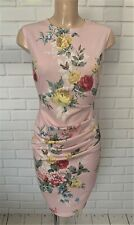Pink Floral Ruch Front Wiggle Pencil Smart Office Shift Dress Size 10-18