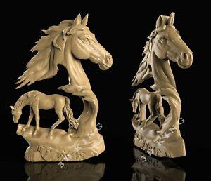 STL 3D Model HORSE STALLION for CNC Router Aspire Artcam 3D Printer Engraver