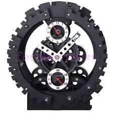 "Rotary Gear Alarm Desk Clock Creative Bell Clocks Home Decor  Black 7"""