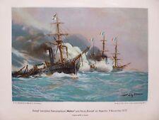 """Militär Lithographie, Kanonenboot """"Meteor"""" und Aviso """"Bouvet"""" vor Havanna 1870"""