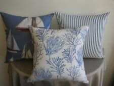 Beach Sea Coral Seaweed Blue Cream Coastal Theme Cushion Covers  45cm Au Made
