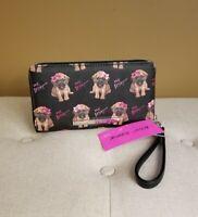 Puppy Dog Betsey Johnson Wallet Black Pink Wristlet NEW