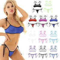 dPois Damen Mini Zweiteiliger Bikini Set Microkini Neckholder Bra BH Triangel Badeslip G-String mit Schn/ürung Design Bademode Brasilianisch