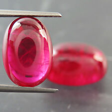 19.60ct GORGEOUS MATCHED PAIR Lab Created PIGEON BLOOD RED RUBY CHATHUM OVAL CAB