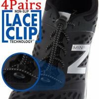 4 Pair of Elastic Shoe Laces Easy No Tie Kids&Adults Shoes Black Running String