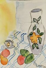 Original ACEO or ATC watercolor - Vase with fruit