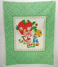 "Vintage Strawberry Shortcake Baby Crib Quilt Blanket Throw 35""x42"" Green White"