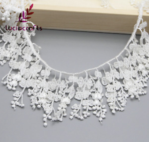 1 yard 13cm Wide White Tassels Embroidered Lace Trim Sewing Accessory