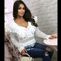 Womens Crochet Lace Long Sleeves Top Peplum Ruffle See-through Blouse Tee Shirt