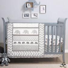 Elephant Walk 4 Piece Chevron Unisex Grey & White Baby Crib Bedding by Belle