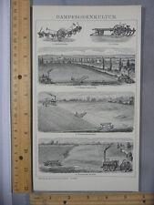 Rare Antique Orig VTG Dampfbodenkultur Agriculture Chart Illustration Art Print