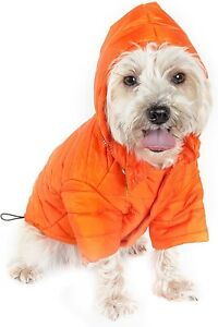 """PET LIFE """"Avalanche"""" Pet Dog Coat Jacket w/ Built-in Hood IN POUCH ORANGE SMALL"""