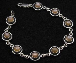 "Antiqued .925 STERLING SILVER Round PEACH MOONSTONE Gemstone BRACELET 8"""