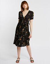 Fat Face Willa Windswept Posy Wrap Midi Dress - Black - UK 16 - RRP £55